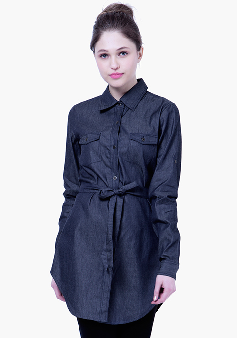 BASICS Chambray Shirt - Dark