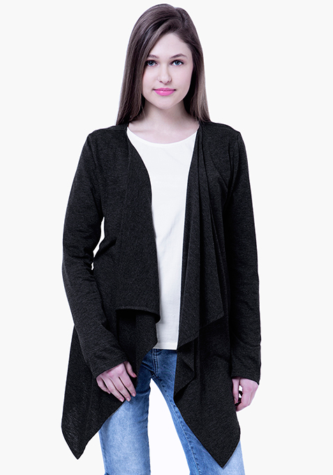 BASICS Slub Drape Shrug - Black