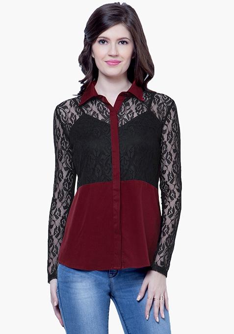 Lace Score Shirt - Oxblood