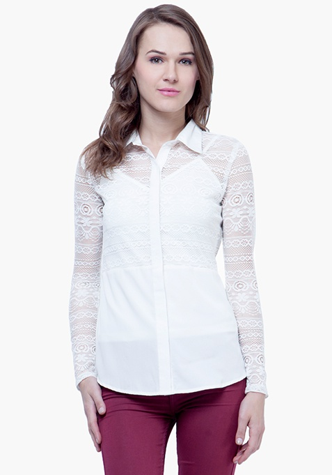 Lace Score Shirt - White