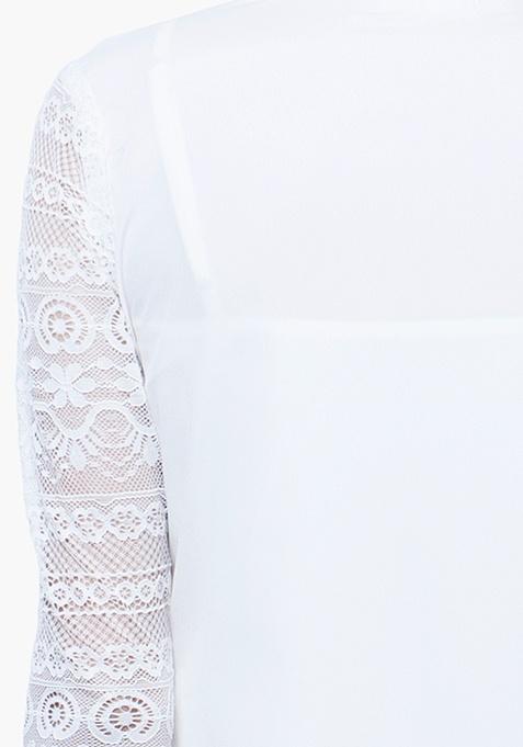 Lace Score Shirt - White