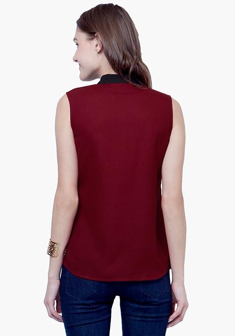 Lace Splash Shirt - Oxblood