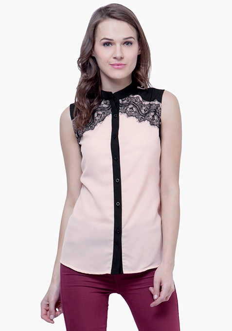 Lace Splash Shirt - Blush