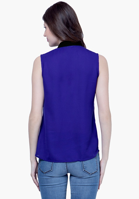 Lace Splash Shirt - Cobalt