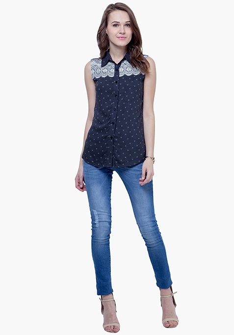Lace Accent Shirt - Blue