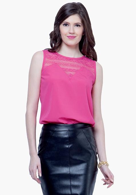 Lace Yoke Blouse - Pink