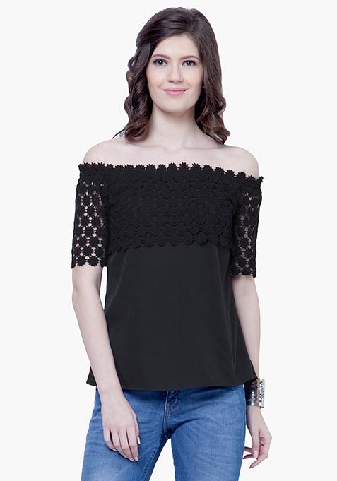 Crochet Lace Peasant Top - Black