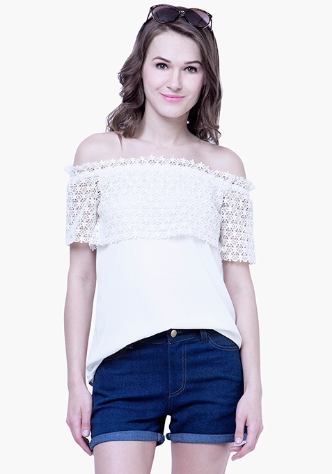 Crochet Lace Peasant Top - White