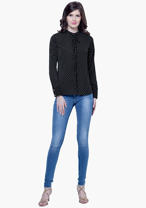 Skinny Knot Shirt - Black Polka