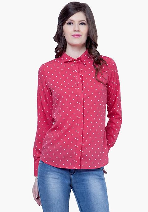 Skinny Knot Shirt - Pink Polka