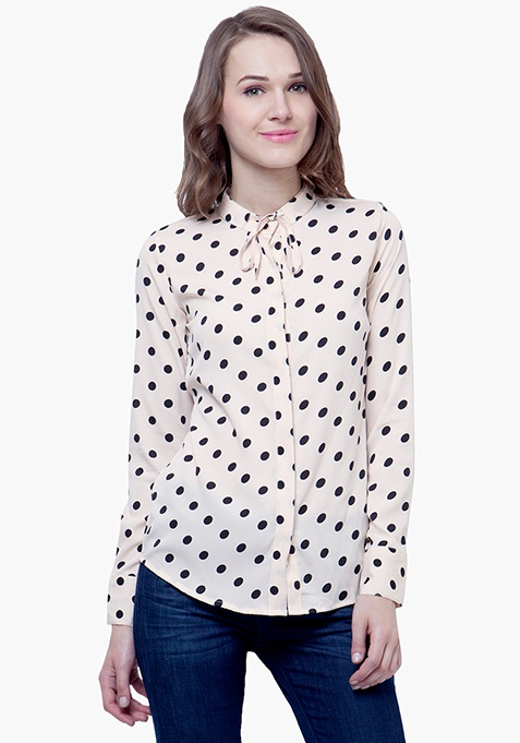 Skinny Knot Shirt - Beige Polka