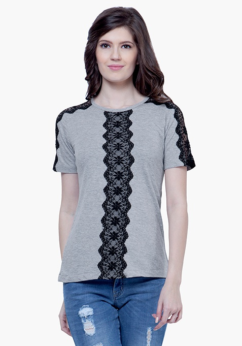 Lace Spark Tee - Grey