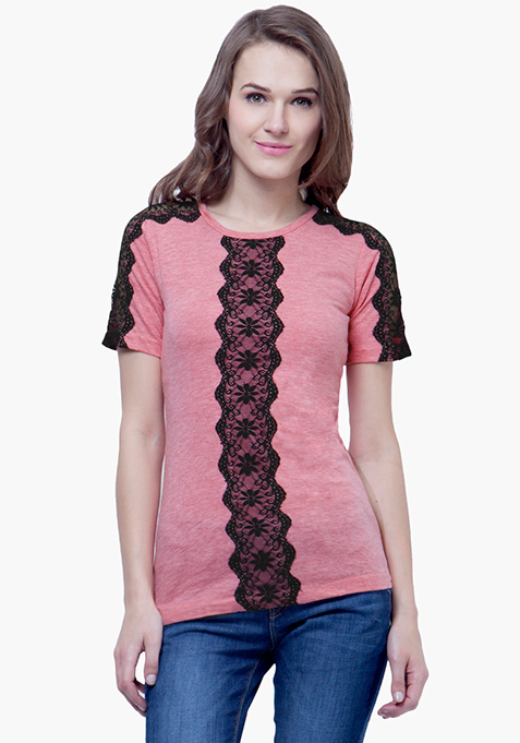 Lace Spark Tee - Pink