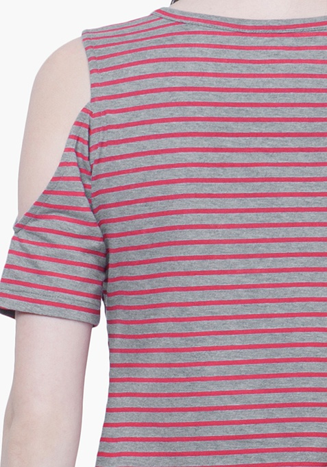 Cold Shoulder Top - Stripes