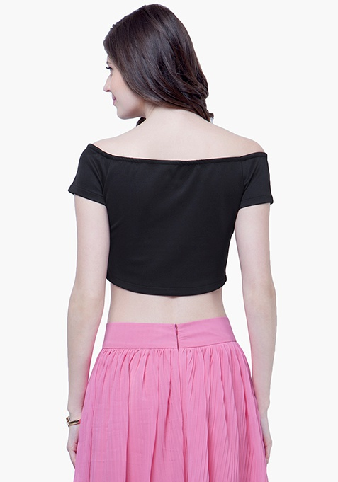 Off-the-Shoulder Crop Top - Black