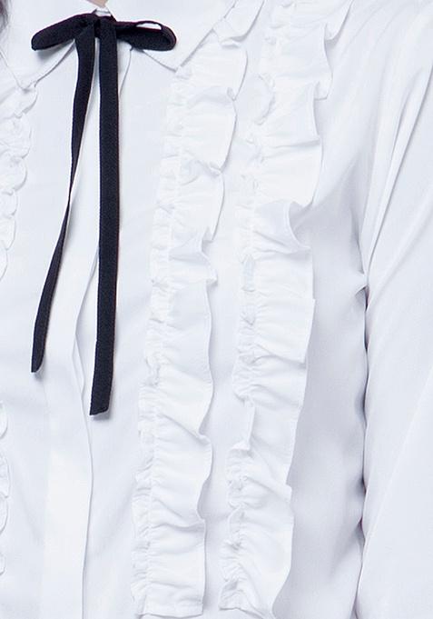 Knotty Gal Ruffled Shirt - White