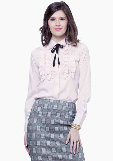 Knotty Gal Ruffled Shirt - Blush