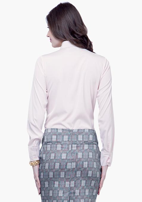 Knotty Gal Ruffled Shirt - Blush
