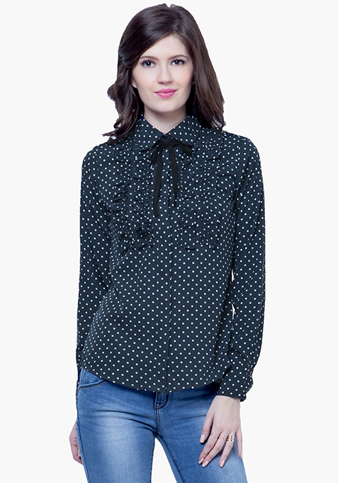 Knotty Gal Ruffled Shirt - Polka