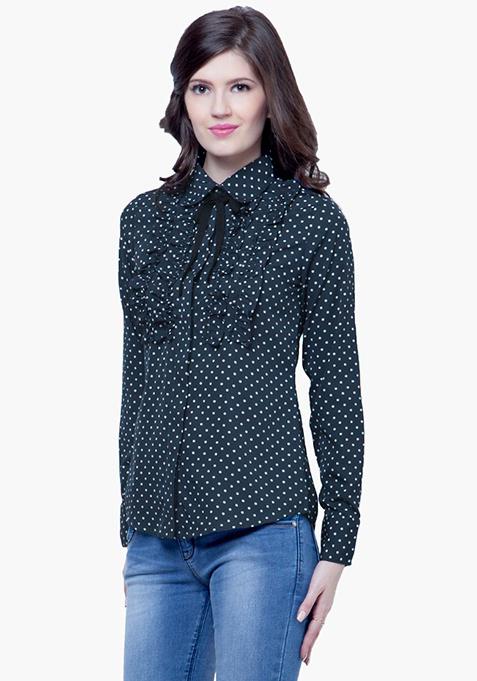 Knotty Gal Ruffled Shirt - Polka
