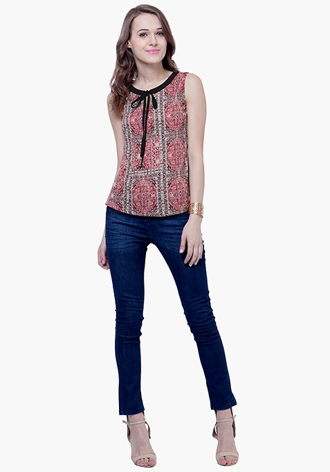 Skinny Knot Blouse - Aztec