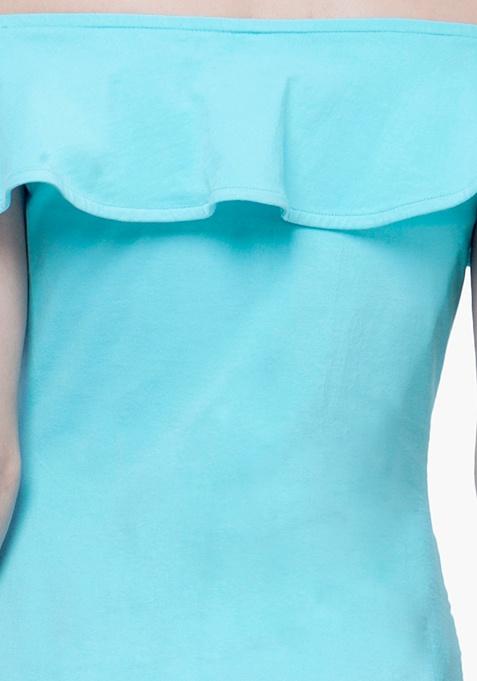 Off-Shoulder Ruffled Top - Aqua