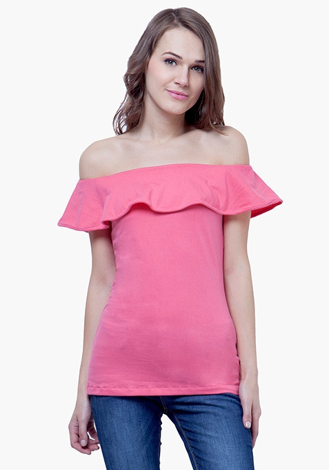Off-Shoulder Ruffled Top - Pink