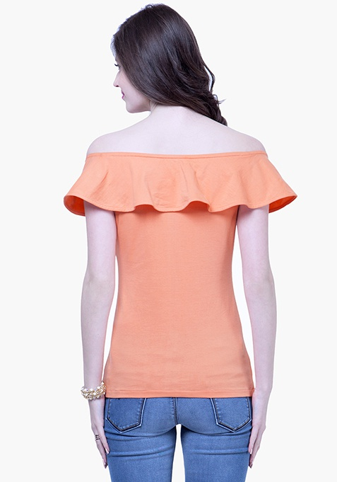 Off-Shoulder Ruffled Top - Peach