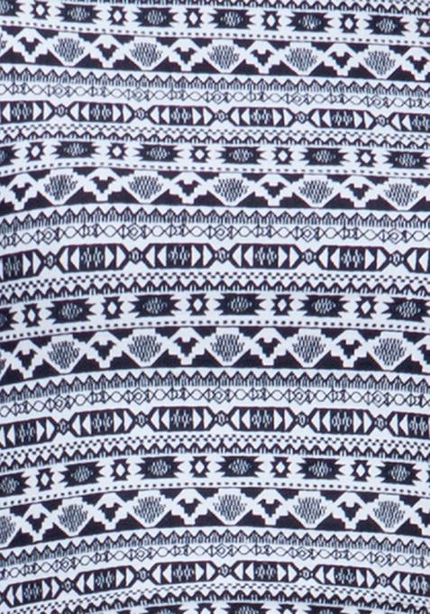 Slashed Crop Top - Aztec