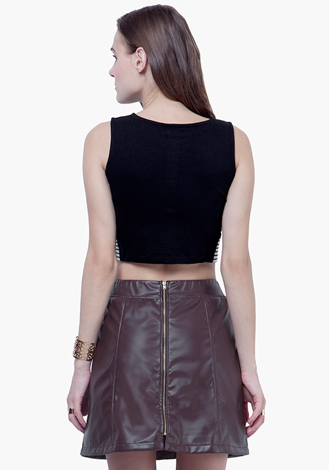 Slashed Crop Top - Black