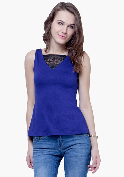 Lace Wonder Tank Top - Blue