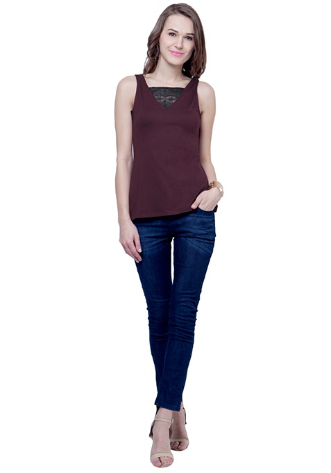 Lace Wonder Tank Top - Oxblood