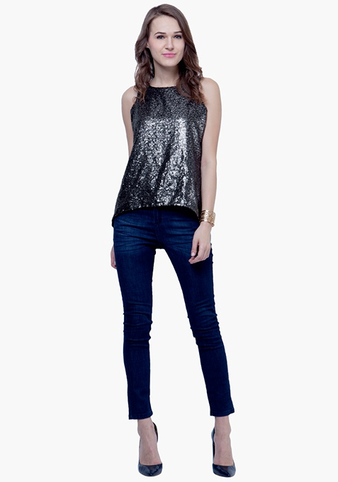 Sequin Tank Top - Charcoal