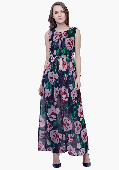 Cropped Maxi Top - Blue Rose