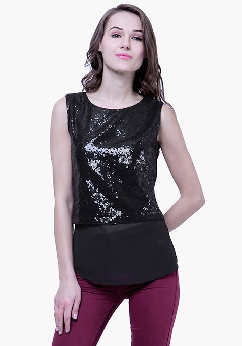Sequin Overlay Top - Black
