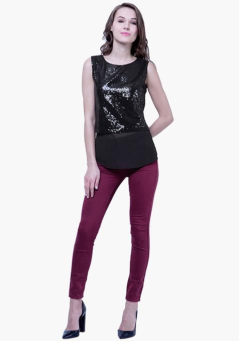 Sequin Overlay Top - Black