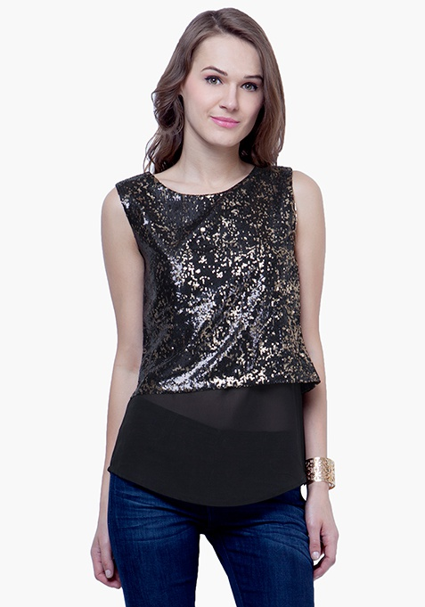 Sequin Overlay Top - Black Gold