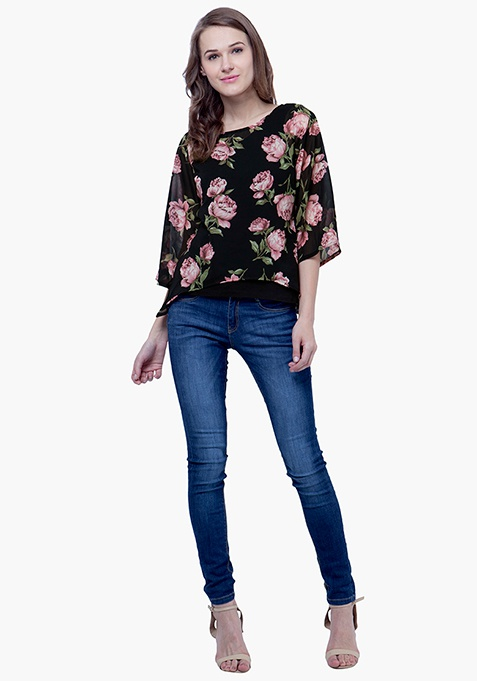 Sheer Overlay Top - Floral