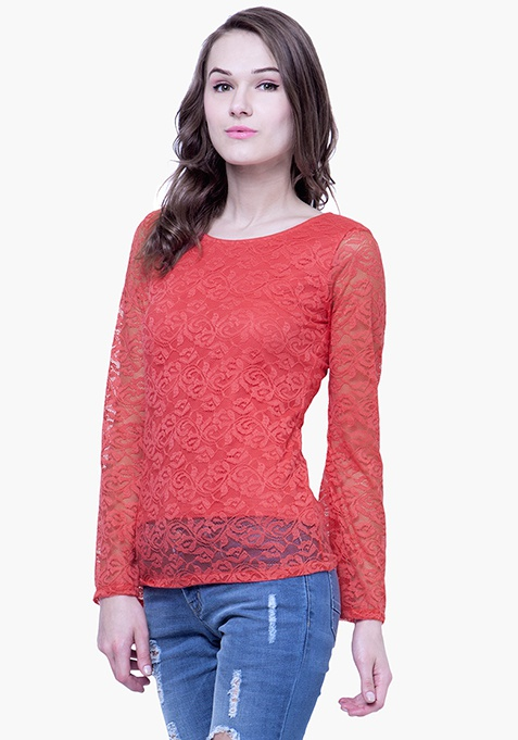 Lace Bell Sleeve Top - Coral