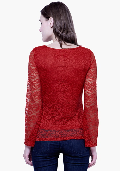 Lace Bell Sleeve Top - Red