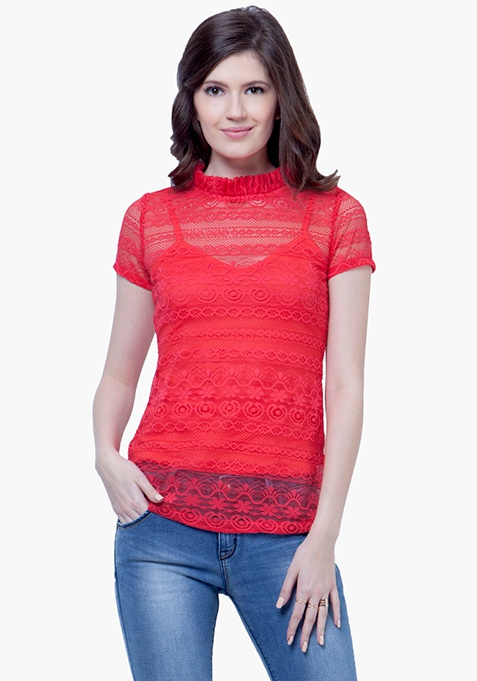 Ruffled Up Lace Top - Coral
