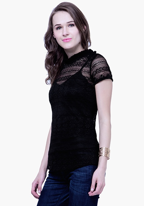 Ruffle Up Lace Top - Black