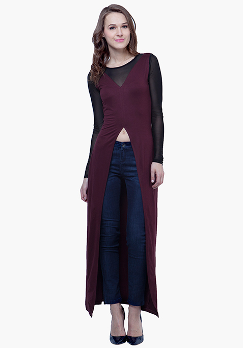 Sheer Sass Maxi Top - Oxblood