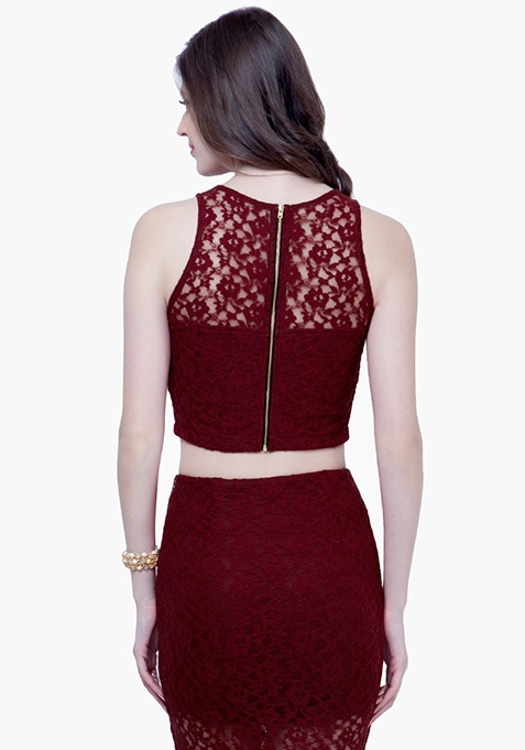 Lace High Crop Top - Oxblood