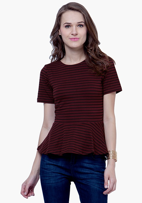 Peplum Striped Top - Oxblood