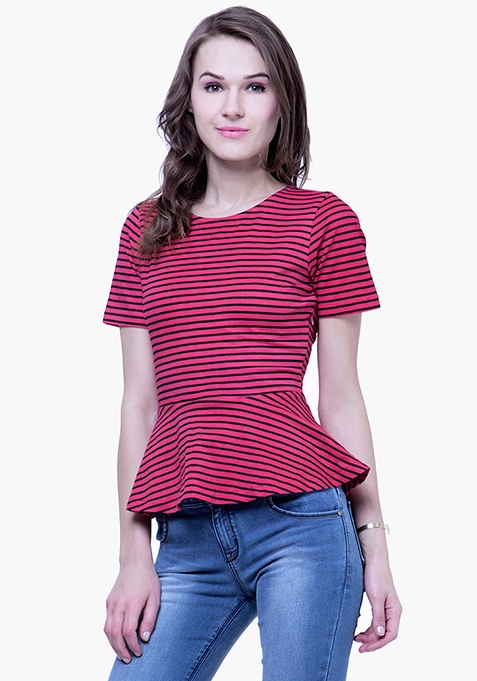 Peplum Jersey Top - Stripes