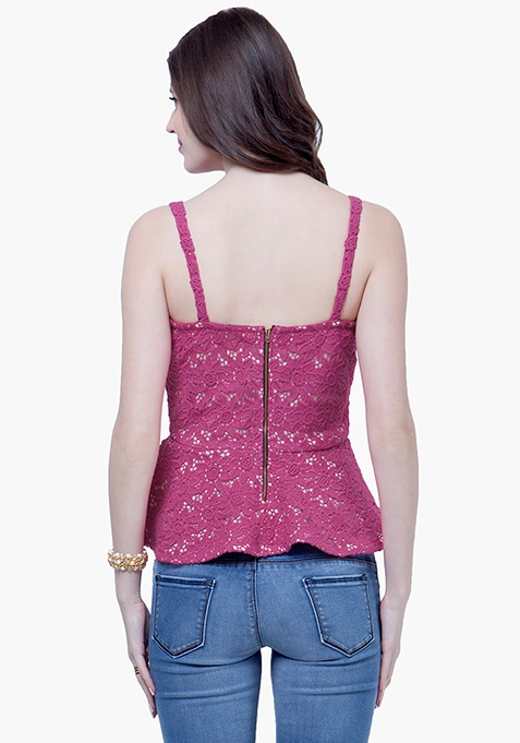 Sweetheart Lace Peplum Top - Pink