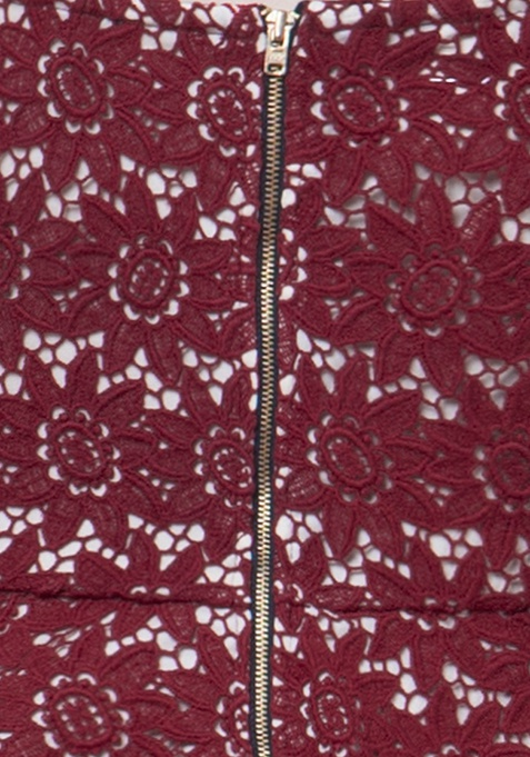 Sweetheart Lace Peplum Top - Oxblood