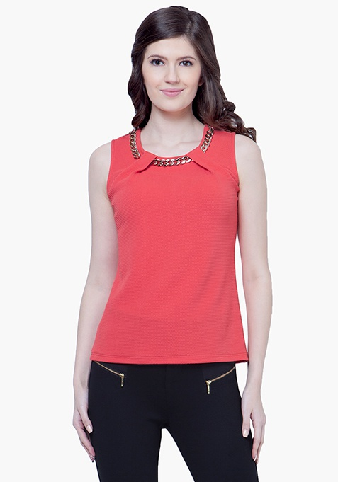 Gold Chain Link Top - Coral