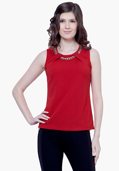 Gold Chain Link Top - Red